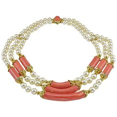 Classic Van Cleef and Arpels (VCA) natural coral, diamonds and pearl necklace with 18K accents.