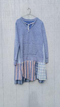 funky fall tunic upcycled sweatshirt sporty clothing by CreoleSha