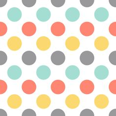 Coral mint yellow dots fabric by oleynikka on Spoonflower - custom fabric
