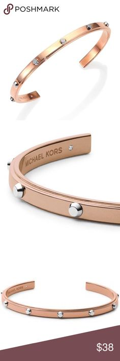 MICHAEL KORS ASTOR TWO-TONE STUDDED CUFF BRACELET MICHAEL MICHAEL KORS 'ASTOR' TWO TONE STUDDED CUFF BRACELET. ROSE GOLD/ SILVER. MIXED METAL. DIAMETER, ABOUT 2.5'' WIDTH, ABOUT 0.5''. SLIP-ON STYLE/ BENDABLE. CONDITION: GENTLY USED/ SIGNS OF WEAR; MINOR SCRATCHES. MICHAEL Michael Kors Jewelry Bracelets