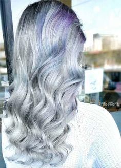 Granny Silver/ Grey Hair Color Ideas: Balayage Gray & Lilac Hair