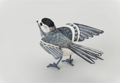 Yorkshire Sculpture Park | Emily Sutton Embroidered Pied Wagtail (Winged) Fabric Sculpture