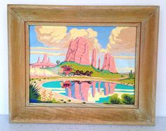 Vintage Paint by Number Western Cowboy Desert Mountain #Vintage #Paintbynumber #Midcentury #Desert #Art #Thriftytrendzbyjuls