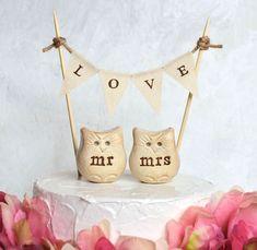 Wedding cake topper... mr mrs Love bird owls