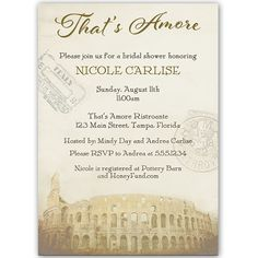 Invite guests to your bridal shower with this Italy themed invitation with chocolate brown colored lettering, European stamps and the Coliseum in the background.