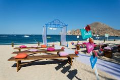 The casual and colorful beach ceremony in Cabo San Lucas, Mexico {Dino Gomez}