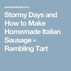Stormy Days and How to Make Homemade Italian Sausage » Rambling Tart
