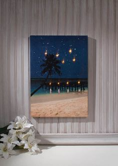 Radiance Lighted Canvas Starry Night Lighted Beach Canvas - Shelley B Home and Holiday Starry Night Picture, Starry Night Light, Light Up Pictures, Light Up Canvas, Enchanted Wood, Halloween And More, Flickering Lights, Beach Canvas, Picture Design