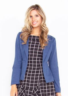 Zip Code Blazer. Blue blazer with an exposed zipper detail in the back. Front pockets. #Fashion #Blazers #OOTD #OnlineShopping #FreeShipping