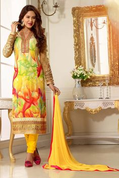 Lemon Georgette Designer Suit