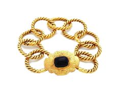 Vintage Chanel cuff bracelet navy blue stone ring chain CC104