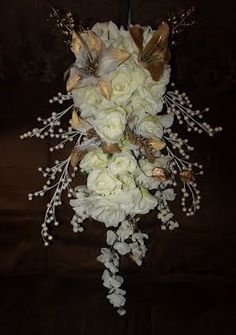 Tear drop / Waterfall/ Triangle style cascading Bouquets - Silk Wedding Flowers For Less!
