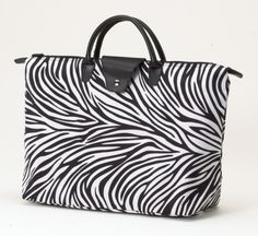 Shopping Tote Travel Bag Joann Marie Designs Zebra Print Fold Up Short Handle  http://stores.ebay.com/beachcats-bargains  beachcats bargains