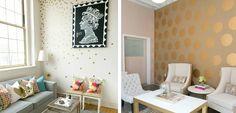 Decorar el salón con lunares en las paredes - http://www.decoora.com/decorar-el-salon-con-lunares-en-las-paredes/