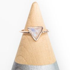 14k Gold Triangle Semi Precious Ring in Moonstone - Carrie Elizabeth