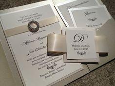 Elegant Pocket Wedding Invitation in Cream, Shimmer Paper, Rhinestone Buckle, Cream Satin Ribbon for Elegant, Classic Wedding