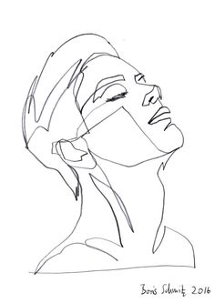 """Gaze 380?, continuous line drawing by Boris Schmitz (Beauty Face Art)"