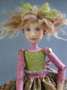 Folk Art Doll Red Hair Pink Shoes OOAK