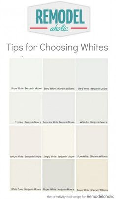 Tricks for easily choosing white paint colors. Remodelaholic Tricks for easily choosing white paint colors. Best Interior Paint, Interior Paint Colors, Paint Colors For Home, Paint Colours, Interior Decorating, Interior Painting, Interior Design, Decorating Ideas, Off White Paint Colors