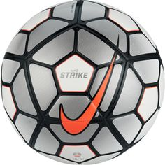 The Nike Pitch Soccer Ball 2016 in black with light bone and white is constructed with 32 panels for accurate shooting and is machine stitched with a TPU casing. The Nike logo and the Pitch design is