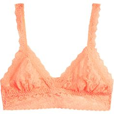 Hanky Panky Neon Peach Triangle Signature Stretch-Lace Bralette (£27) ❤ liked on Polyvore featuring intimates, bras, orange, pull on bras, hanky panky, sheer demi bra, orange bra and neon bra