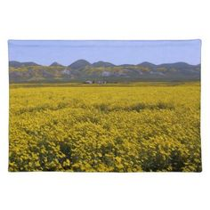Yellow Wildflower Field Landscape Placemat - home gifts ideas decor special unique custom individual customized individualized