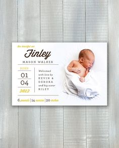 Simply Type Baby PDF Announcement by JoyEverAfter on Etsy, $15.00 #baby #birth #announcement #simple #type #diy #newbaby