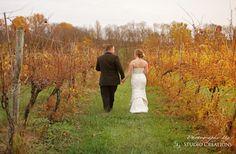 Bride and Groom, sunset,Virginia, vineyard, Fall Wedding