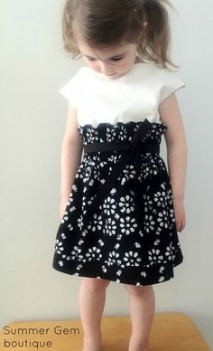 Taylor Dress   NEW Toddler Girls Dress Cream and Black The by SummerGemBoutique, $44.00