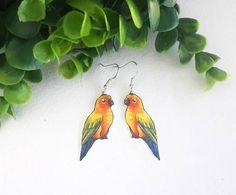 Parrot Sun Conure Parakeet Yellow Orange Exotic Bird Lover Gift Wildlife Nature Metal Dangle Earrings