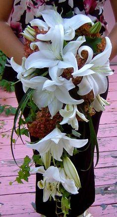 White Lily Cascade Bridal Bouquet