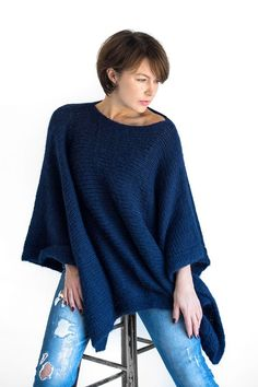 Knit poncho sweater for women handmade from chunky alpaca wool in navy blue. Alpaca Poncho, Crochet Poncho, Poncho Sweater, Knitted Poncho, Alpaca Wool, Capes For Women, Knit Fashion, Sweaters For Women, Trending Outfits
