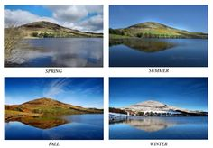 Shown here are photographs of the four seasons with nearly the exact same view of Castlelaw Hill in Glencorse, part of the Pentland Hills of Scotland. By Cameron Morrison. Read more in Celtic Guide's Feb 2016 issue. All issues are FREE at www.celticguide.com