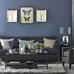 Navy blue living room furniture ideas sofa decorating denim and grey home decor licious Navy Blue Living Room, Blue Rooms, Living Room Grey, Home Living Room, Living Room Designs, Apartment Living, Grey Room, Gray Bedroom, Trendy Bedroom