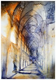 by ~neko-gato - Watercolor and pen - What a master can do with light - Art - Watercolor - Architecture Watercolor Architecture, Architecture Drawings, Gothic Architecture, House Architecture, Art Aquarelle, Watercolor Paintings, Watercolours, Illustration Manga, Art Illustrations