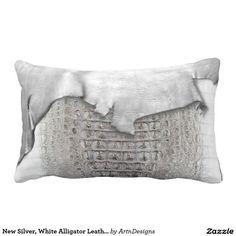 New Silver, White Alligator Leather Print Throw Pillows