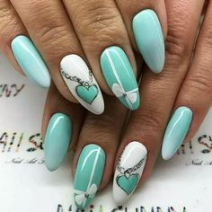 Tiffany blue nails, It's a symbol of patience and peace. Beautify yourself with these tiffany blue nails and uplift your mood. Cute Spring Nails, Cute Nails, Pretty Nails, Summer Nails, 3d Nail Art, 3d Nails, Stiletto Nails, Pink Nails, Acrylic Nails
