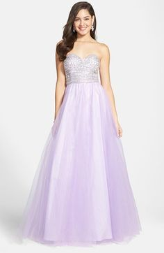 Free shipping and returns on Way-In 'Gwen' Embellished Bodice Ballgown (Juniors) at Nordstrom.com. Be the belle of the ball in this sweetly styled gown that pairs a glamorously embellished sweetheart bodice with a dramatically flared skirt of lilac-colored tulle.