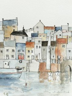 giclee art print of a harbor town by atelier28 on Etsy