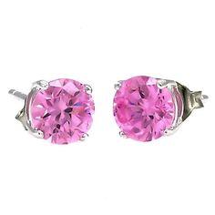 Harlow: 7mm 2.5c Pink Sapphire Ice CZ Basket Set Stud Earrings 925 Silver