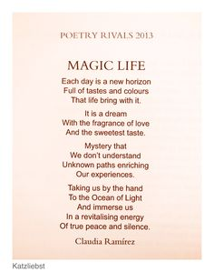 This poem was published on the 31st of January 2014 in London.