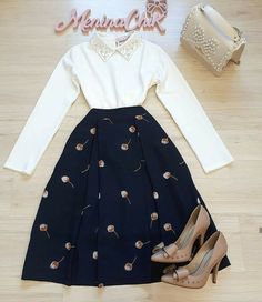 Love the collar on this shirt. The skirt is elegant Meeting Outfit, Jw Fashion, Apostolic Fashion, Modest Fashion, Hijab Fashion, Work Fashion, Fashion Outfits, Womens Fashion, Skirt Outfits Modest