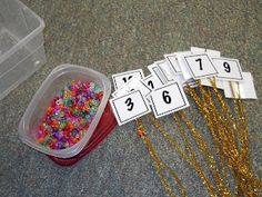 Krazy in Kindergarten: Winter Math Centers - great idea to combine fine motor with math since we have such short work periods. Numbers Preschool, Learning Numbers, Math Numbers, Preschool Math, Math Classroom, Kindergarten Math, Teaching Math, Math Activities, Classroom Ideas