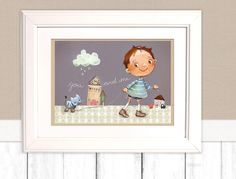 """Kinderbild """"Katze"""" Bild fürs Kinderzimmer Poster von Pipapier auf DaWanda.com"""