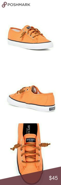 Sperry Seacoast Lace up Sneaker NIB These run true to size.  Medium width, round toe, canvas, lace up vamp closure, with top stitched detail. Padded insole in a beautiful dark orange. Sperry Shoes Sneakers