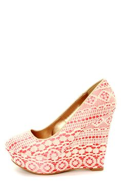 Ailey 2 Beige and Coral Lace Platform Wedges at LuLus.com!