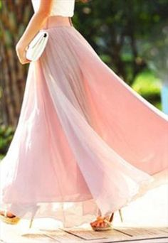 BUY- wide belt that matches.Soft pink salmon pink maxi long skirt big flare