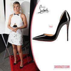 Jennifer Aniston in Chrisitan Louboutin Iriza Black Patent Leather d'Orsay Pumps - ShoeRazzi