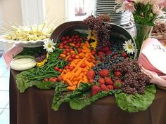 Did fruit and cheese out of one bucket and veggies and dip in the other. Lined the inside with collard greens which are huge leaves. The display was big enough to put all the fruit and veggies out at one time and not have to refill during the reception.