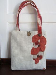 White tote bag Orange tote bag Handbag Red by BerkshireCollections, $44.00